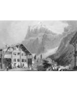 SWITZERLAND Grindelwald Alps Swiss Chalet - 1860s Engraving Print - $13.77