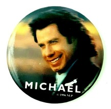 Vintage 1996 Movie - Michael - Pin Button Staring John Travolta Andie Ma... - $9.99