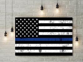 Thin Blue Line US Flag Framed Canvas Wall Art - Thin Blue Line Decor - P... - $219.00
