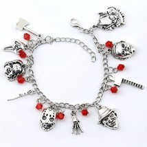 Chucky Face Stephen Kings Penny Wise Jason Hockey Horror charm bracelet ... - $8.48