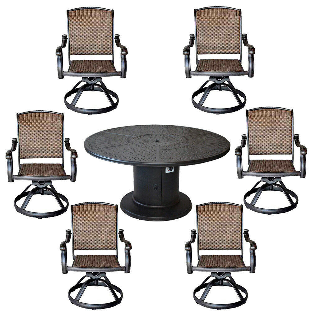 Patio grill dining table set aluminum Santa Clara swivel rocker wicker chairs