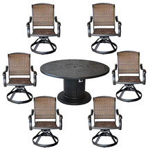 Patio grill dining table set aluminum Santa Clara swivel rocker wicker chairs image 1