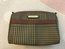 POLO RALPH LAUREN PLAID CHECK BROWN POUCH BAG - $157.41