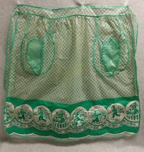 Vintage 1950s Plastic Vinyl Half Apron Dutch Children & Tulips - $32.73