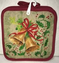 Christmas Potholders Lot of 2 Kitchen Winter Bells Holly Berries - $7.44