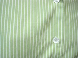 Nordstrom's Foxcroft SZ 14 Women Blouse 100% Cotton Pale Green White Str... - $19.80