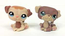 Littlest Pet Shop Puppy Dog Sitting Pug Lot Brown #889 Tan #1753 Authent... - $16.95
