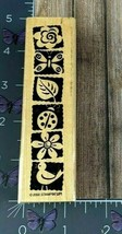 Stampin' Up! Garden Border Rubber Stamp 2000 Insects Flowers Birds Wood ... - $3.22