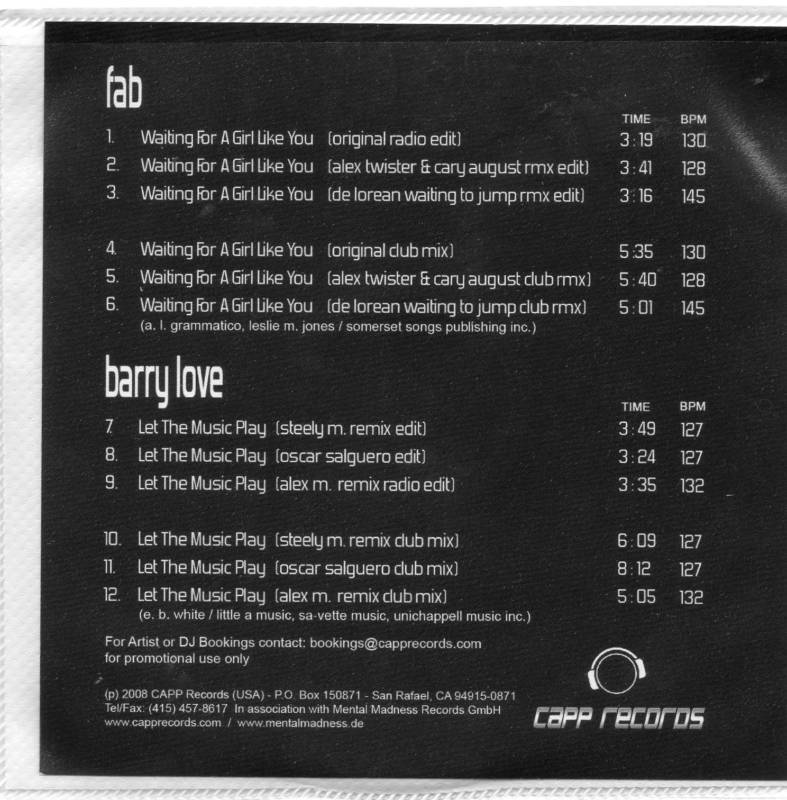 Barry Love Let The Music Play 6 Remixes CD Single