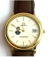 Vintage Rare Zenith Quartz Saddam Hussein Date Swiss Watch Leather Strap - $726.53