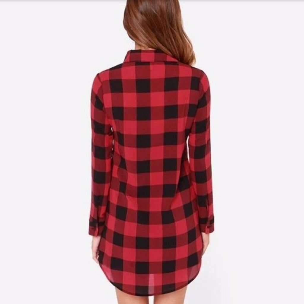Retro Plaid Slim Top Shirt Dress
