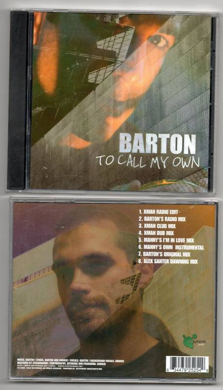 Barton To Call MY Own 8 Track CD Single Remixes