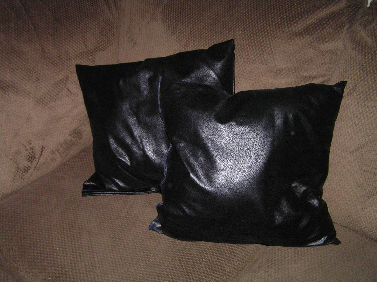 Throw Pillows Faux Leather : 2 Beautiful Black Faux Leather Throw Pillows 1
