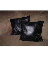 "2 Beautiful Black Faux Leather Throw Pillows 1"" x 16"" Envelope Enclosure - $33.00"