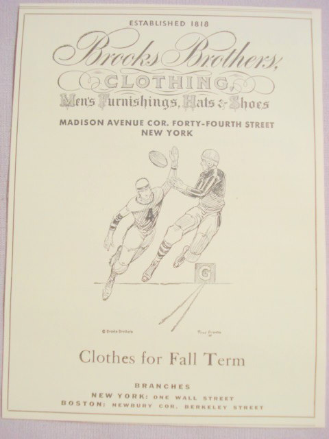 1941 Ad Brooks Brothers Clothing With Football Players