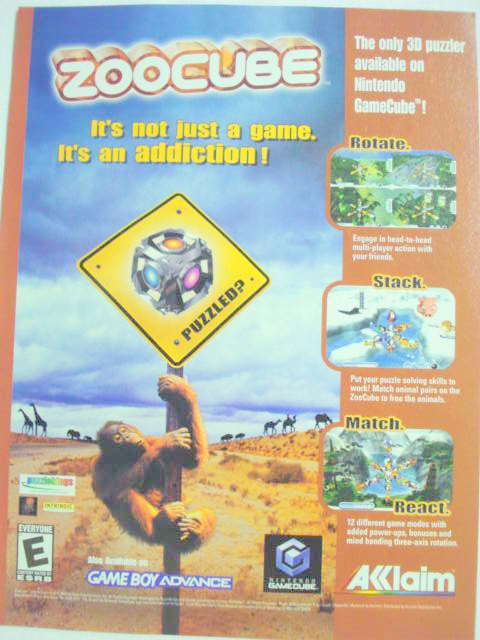 2002 Ad Video Game Zoocube by Acclaim