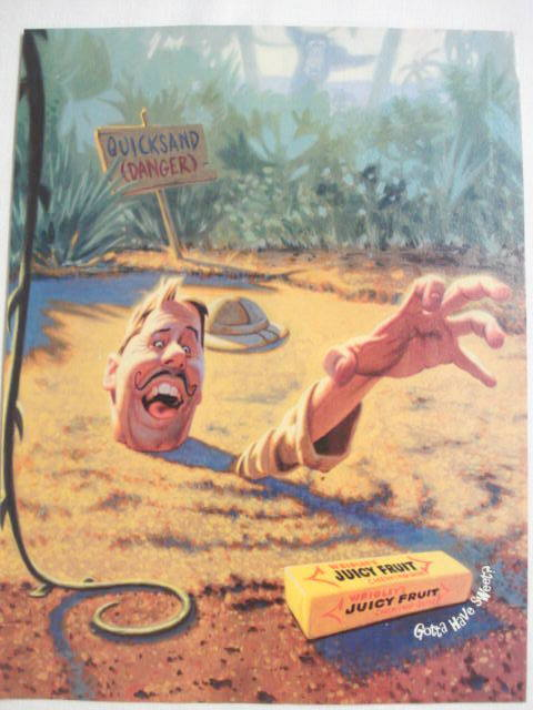 2002 Ad Wrigley's Juicy Fruit with Man in Quicksand