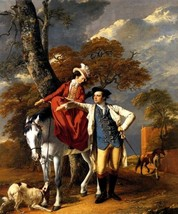 Mr And Mrs Thomas Coltman Horse Dog Countryside Painting By Joseph Wright Repro - $10.96+