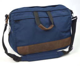 Vtg 90s EASTPAK Blue Brown Leather Shoulder Messenger Flap Laptop Bag Br... - $29.69