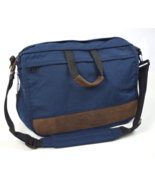 Vtg 90s EASTPAK Blue Brown Leather Shoulder Messenger Flap Laptop Bag Br... - $29.69