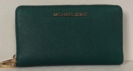 New Michael Kors Jet Set Travel Large Flat MF phone case Leather Emerald - $64.00