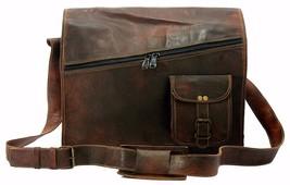 """New Genuine Vintage Leather Messenger Bag Shoulder Laptop 15"""" Full flap Bag - $58.00"""