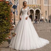 Luxury V Neck A Line Lace Wedding Dress Shiny Applique Beading Long Sleeve Plus  image 1