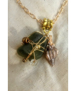 Golden Expressions necklace: green Hawaiian sea glass set in golden wire... - $34.00