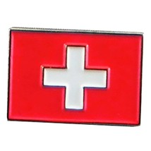 switzerland flag  lapel pin  handmade in uk from uk made parts, boxed tie,lapel