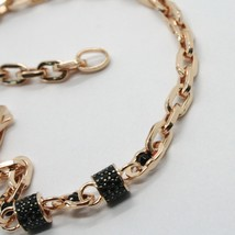 SOLID 18K ROSE GOLD BRACELET SQUARE TUBE OVAL LINK, BLACK ZIRCONIA, ITALY MADE image 2