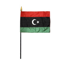 "LIBYA 4X6"" TABLE TOP FLAG W/ BASE NEW DESK TOP HANDHELD STICK FLAG - $4.95"