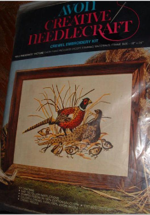 CREWEL EMBROIDERY KIT VINTAGE 1973 WILD PHEASANTS