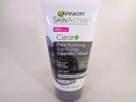 Garnier Clean+Pore Purifying 2-in-1 Clay Cleanser/Mask Oily Skin 5oz 12-G  - $10.89