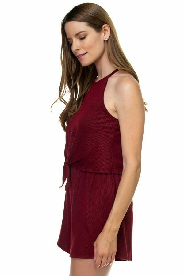 One Piece Burgundy Sleeveless Romper Ribbed Front Tie Shorts Jumpsuit Size M