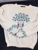 Eddie Bauer Women Cream White Crewneck Floral Duck Embroidered Long Sleeve SizeL - $14.96
