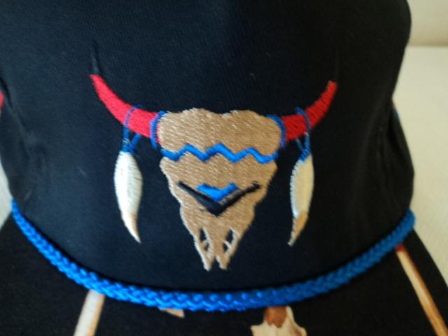 Southwestern Basball Cap Emroidered Long Horn and Horse Hair
