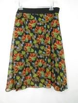 LuLaRoe Lola Simply Comfortable Skirt Sheer Lined Black Floral Size 2XL - $13.78
