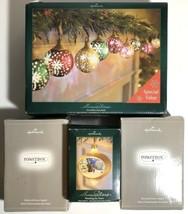 Hallmark Illuminations Set 9 Snowflake Snowballs Santa Ornament & 2 Powe... - $84.15