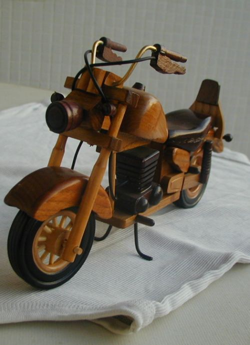 Handmade wooden  motorcyle collectible