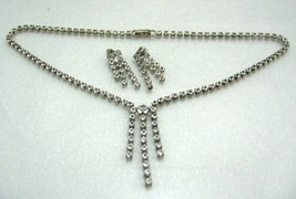 """VINTAGE SPARKLE RINESTONE SILVER PLATED NECKLACE CHOKER stud EARRING SET16"""" - $14.99"""