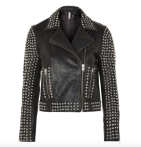 NEW WOMEN'S BLACK STUDDED LEATHER BIKER MOTO MOTORCYCLE JACKET - $299.99
