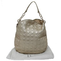 Aut Christian Dior Gold Leather Soft Cannage Lambskin Vertical Hobo Bag ... - $1,039.38