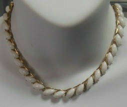 Vintage Trifari Gold-tone White Milk Glass Choker/Collar Necklace  - $66.83