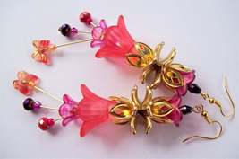 Hand Painted - Coral & Fuchsia - Floral Embellishments - Dangle Earrings - $28.46