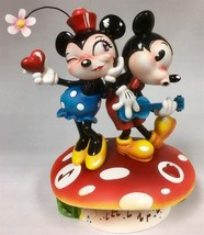 Miss Mindy- Mickey & Minnie Mouse Dance Atop a Mushroom Stone Resin Figurine NEW