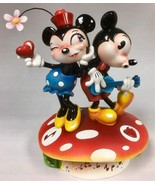 Miss Mindy- Mickey & Minnie Mouse Dance Atop a Mushroom Stone Resin Figu... - $59.39