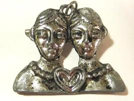 Vintage jewelry silvertone signed Italy brooch pendant - $5.00