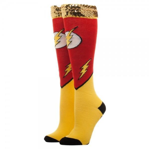 Flash Sequin Cuff Juniors Knee High Socks