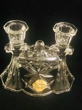 Anchor Hocking PRESCUT CRYSTAL EARLY AMERICAN DOUBLE CANDLE HOLDER Never... - $29.86