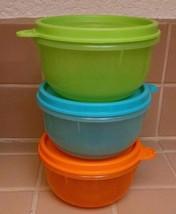 NEW Tupperware Ideal Lit'l Bowl set 3 orange lime green blue 8 oz w/ sea... - €11,13 EUR